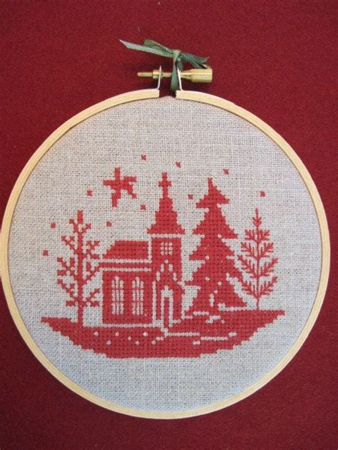 winter cross stitch christmas tree ornament wallhanging