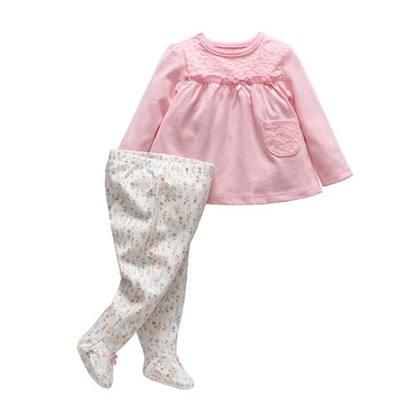 flower pattern clothes 2017 new tender babies spring baby girl clothes flower