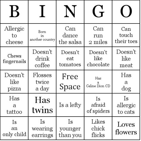 ice breaker people bingo cards