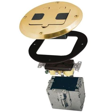 single gang floor box kit brass finish with recessed duplex 15a tr device and adjustable steel