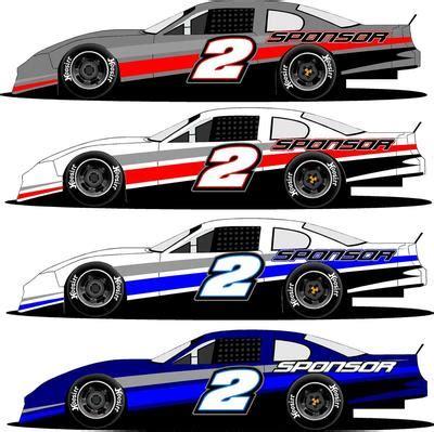 Side Half Wrap 2 Late Model Super Stock Truck Race Car Graphics Design Templates