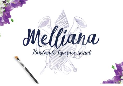 Handmade Typeface - with 290 glyphs and alternate characters melliana is a