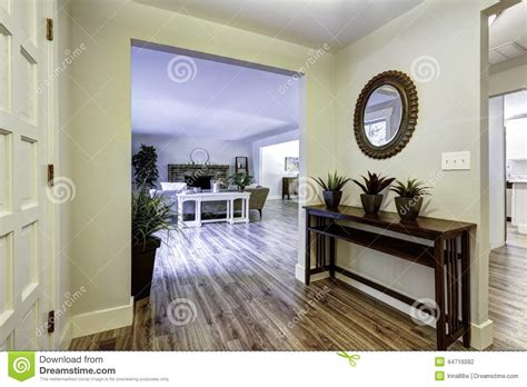 Simple Home Design Inside Style Entrance Hallway With Table And Mirror Stock Photo Image