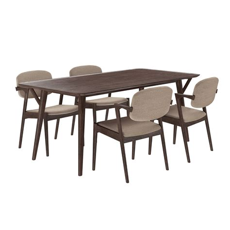 walnut dining bench set mid century modern 5pc wooden dining set with upholstered