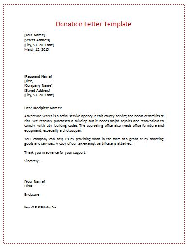 charity fundraising letter template donation letter templates for fundraising free exles