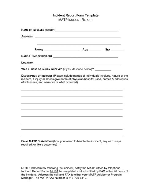 serious incident report template incident report