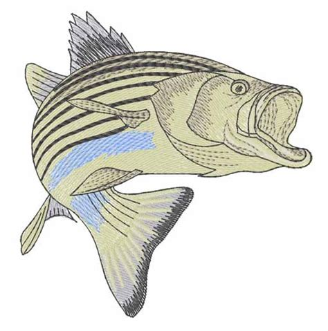 animals embroidery design striped bass from embroidery