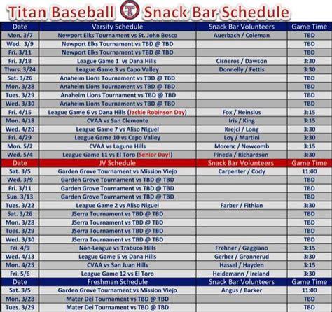 baseball schedule template free baseball snack schedule template for free