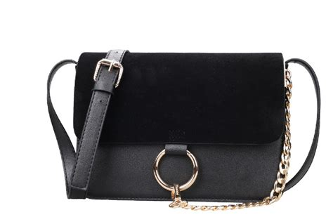 metal ring crossbody bag chic cross with suede flap gold metal ring accent and