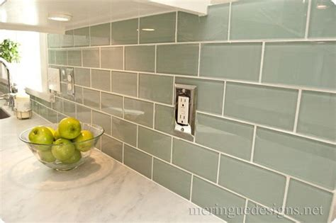 blue grey subway tile backsplash kitchen pinterest