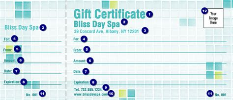 bliss spa logo gift certificate ticket printing