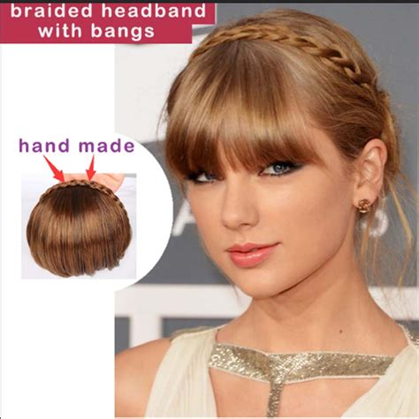 hair piecis and bangs 1pc clip in bangs fake hair extension hairpieces braided