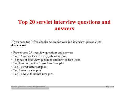 servlet tutorial questions top servlet interview questions and answers job interview tips