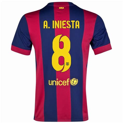 Kaos T Shirt Andres Iniesta Iniesta 2014 15 andres iniesta 8 barcelona home soccer jersey