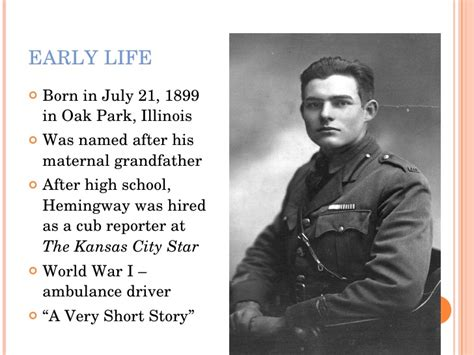 ernest hemingway biography world war 1 ernest hemingway pptx