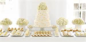 All white wedding dessert buffet