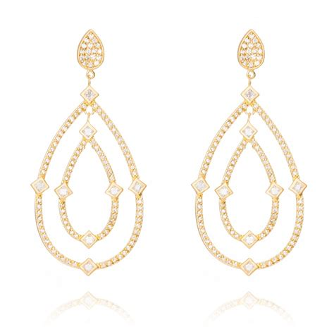 Chandelier Earrings Gold Ingenious Gold Plated Chandelier Earrings With Pave Pear Shapes