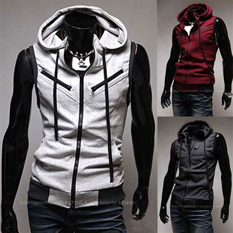 Jaket Vest Zipper Hoodie Dishonored 2 02 fashion s zip up waistcoat hoodies hooded jacket coat