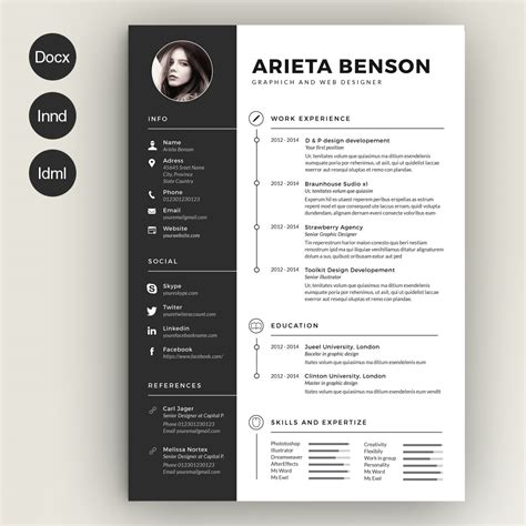 cv template design clean cv resume by estartshop on creative market resume