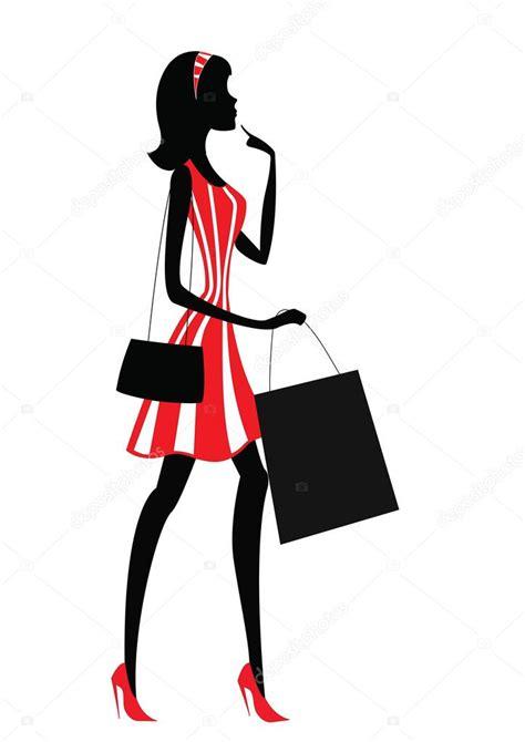 imagenes vectores compras silueta de una mujer ir de compras vector de stock