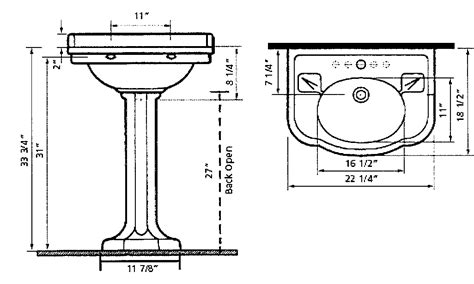 typical bathroom sink height pedestal sinks