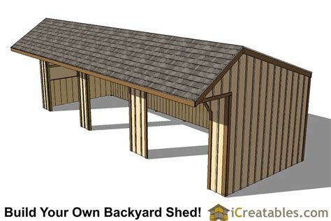 Run In Shed Plans by 12x24 Run In Shed Plans With Cantilever Roof