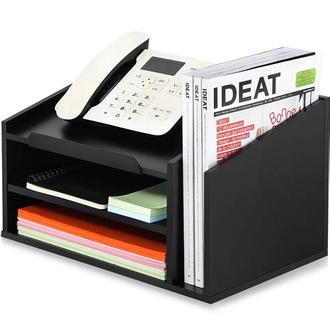Black Wood Desk Organizer by Fitueyes Wood Printer Stands With Drawer Workspace Desk