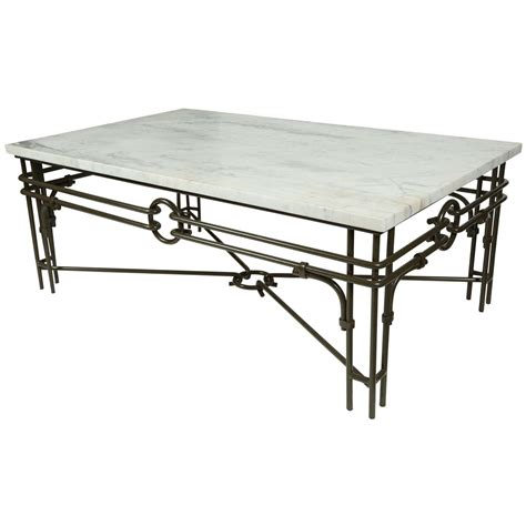 Iron And Marble Coffee Table Vintage Iron And Marble Coffee Table At 1stdibs
