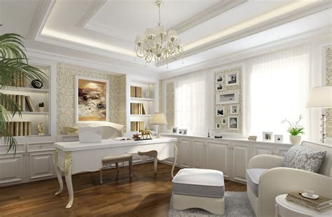 white intereror design white study interior