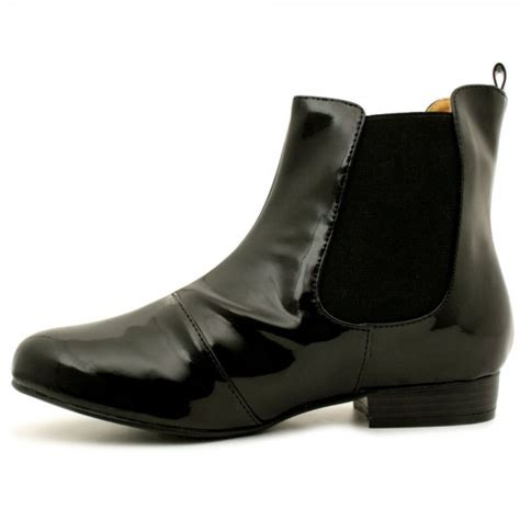 womens black patent leather style chelsea flat ankle boots