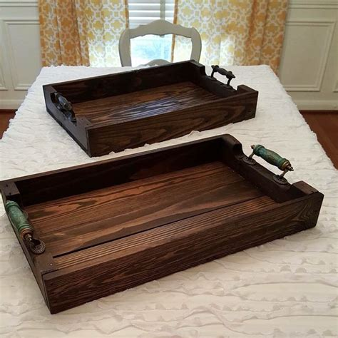 Handmade Wood Serving Trays - two beautiful custom reclaimed wood serving tray orders
