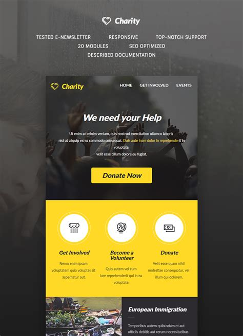 charity newsletter template charity e newsletter template buy premium charity e