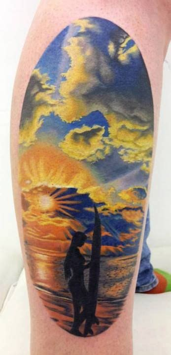 beach scene tattoo sunset by jen