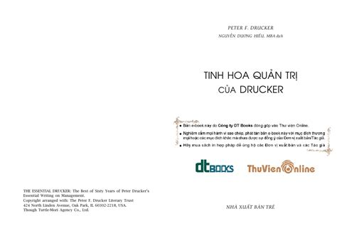 Drucker Mba Tuition by Tinh Hoa Quản Trị Của Drucker