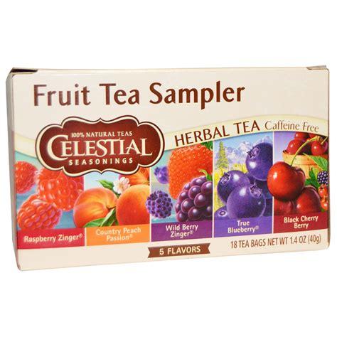 celestial seasonings fruit tea sler herbal tea caffeine free 5 flavors 18 tea bags 1 4