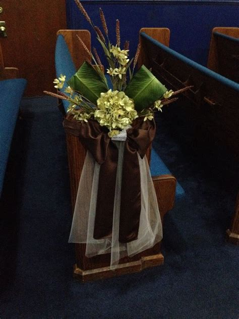 how to decorate the church pews for a wedding   Google
