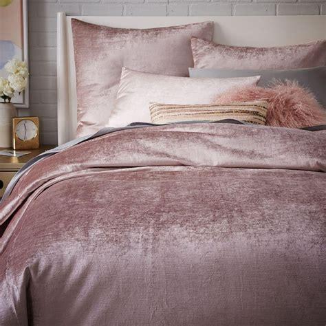 velvet bedding washed cotton lustre velvet quilt cover pillowcases dusty blush west elm au