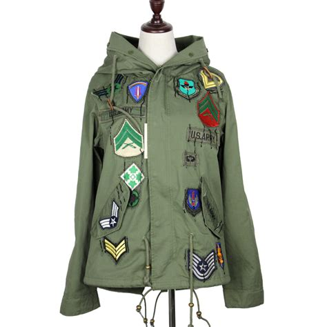 Hooded Embroidery Jacket 2016 jacket new army green embroidery badge
