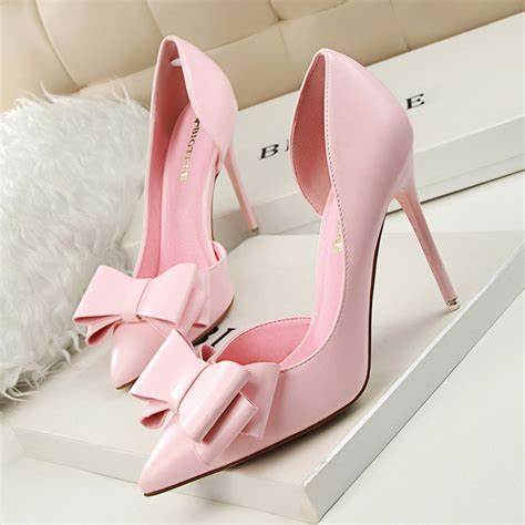 pink and white high heels 2016 new summer pumps sweet bowknot high heeled