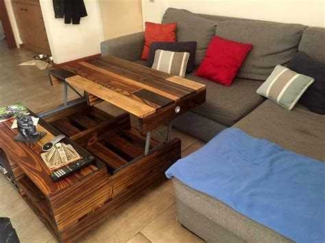 Diy Pallet Coffee Table Wheels Diy Lift Up Top Pallet Coffee Table With Storage Wheels 101 Pallets