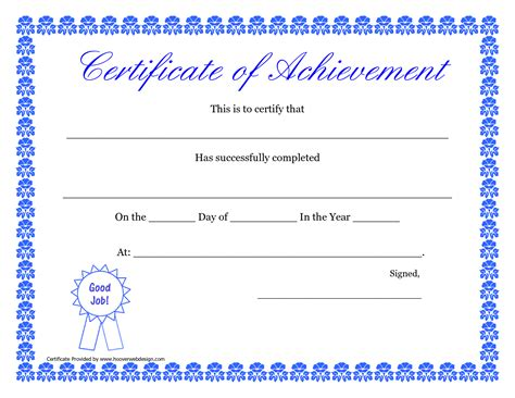 certificate template doc doc printable templates certificates of achievement