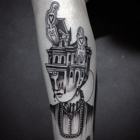 house tattoo 60 haunted house designs for spooky spot ink