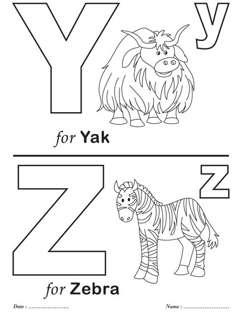 Letter Y Coloring Pages For Preschoolers by Printables Alphabet Y Z Coloring Sheets Abc S