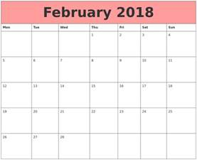 Calendar 2018 Pdf Canada February 2018 Calendar Printable Template Pdf Uk Usa