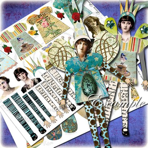paper doll journal paper doll digital paper altered journal page