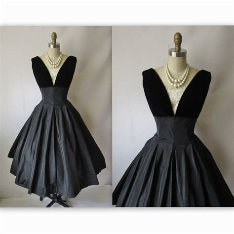 08b111351 50 000 Dress Sale 50 50 s cocktail dress vintage 1950 s black taffeta