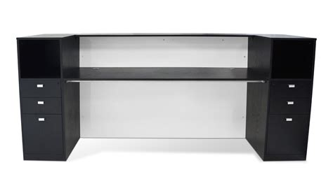 Clinton Reception Desk In Black Oak With White Acrylic Black Reception Desks