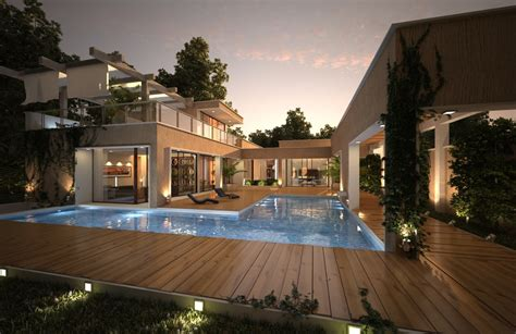 swimming pool house house with pool renders