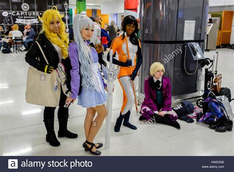 convention 2017 birmingham of females in anime costumes attend mcm comic