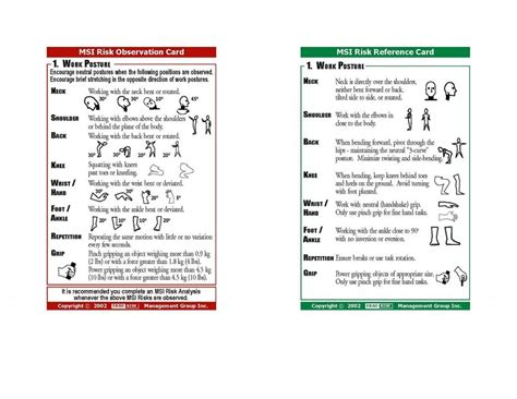 safety observation card template observation cards ergorisk management ergonomics